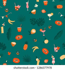 Hawaiian tiki modern exotic tropical hawaiian fruits and plants seamless pattern in vector