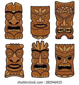 Hawaiian tiki statue masks set. Vector illustration