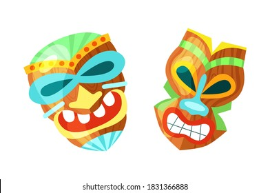 Hawaiian totem mask.Tiki god wood statues, wooden african sculpture. Polynesian African and mask Hawaiian mask cartoon vector illustration