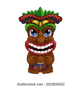 Hawaiian totem with palm leaves. Holidays in the Hawaiian Islands. Vector illustration on white background. Funny vector characters in cartoon style.