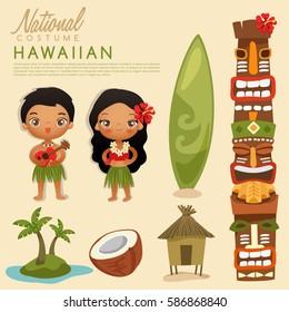 Hawaiian  traditional costumes : Vector Illustration