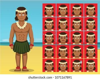 Hawaiian Traditional Dance Costume Man Cartoon Emotion faces Vector Illustration