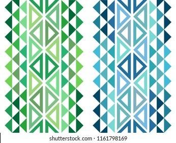 Hawaiian Tribal Decorative Tattoo - Green And Blue Seamless Pattern Design