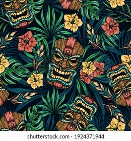 Hawaiianische tropische farbige, nahtlose Muster mit Tribal-Tipp-Maske Hibiscus Blumen Monstera und Palmblätter Vektorgrafik