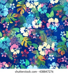 Hawaiian tropical floral seamless pattern for backgrounds or fabric print. Endless repeat texture with hibiscus flowers and palm leaves.