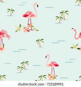 Hawaiian tropical pattern with palms and pelicans . Can be used for prints, textile. wrapping paper