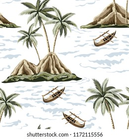 Hawaiian vintage island, palm tree, sea and boat summer seamless pattern.Exotic jungle wallpaper.