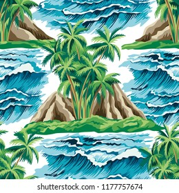 Hawaiian vintage island, palm tree and  sea  waves summer floral seamless pattern.Exotic jungle wallpaper.
