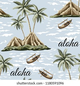 Hawaiian vintage island, palm tree, sea and boat summer seamless pattern blue background.Exotic jungle wallpaper. Aloha slogan.