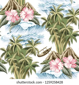Hawaiian vintage island, palm tree, boat, pink hibiscus and sea waves summer floral seamless pattern.Exotic jungle wallpaper.