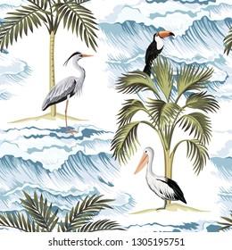 Hawaiian vintage island, palm tree, heron, pelican, toucan and sea waves summer floral seamless pattern.Exotic jungle wallpaper.