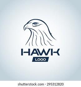 Hawk head logo template, hawk logotype for badge, t-shirt design. Vector illustration.