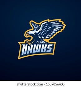 Hawk logo mascot vector. flying  hunting
