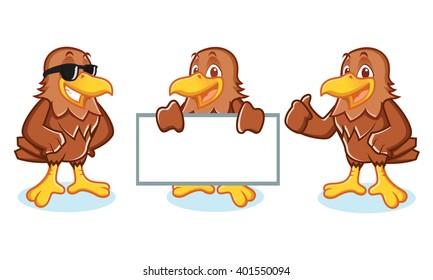Hawk Mascot Vector happy, pose and bring board