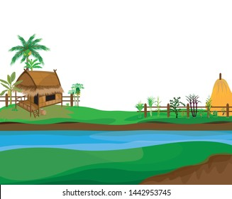 hay roof straw hut and vegetable around picket,vector design