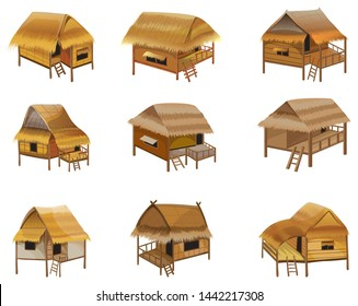 hay roof straw hut,balcony and stairs vector design