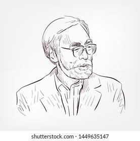 Hayao Miyazaki vector sketch portrait face famous