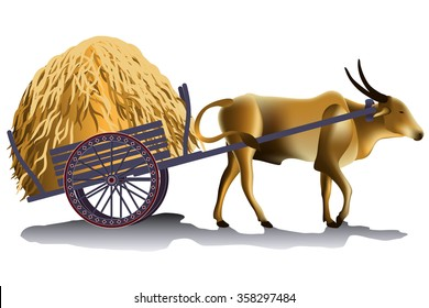 Hayrick in the buffalo cart vector illustration, harvesting time in the countryside