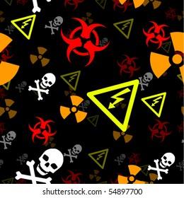 Hazard and danger symbols form a seamless background tile
