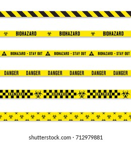 hazard danger yellow seamless tape set. Vector illustration isolated on white background