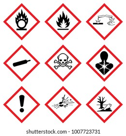 Hazard icon. Hazardous symbols. Ghs Warning signs. Vector danger hazardous sign. Klasyfikacji i Oznakowania Chemikaliów. Kennzeichen Set Sammlung Symbole Piktogramme.