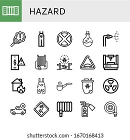 hazard icon set. Collection of Harmonic, Error, Overall, Forbidden, Poison, Fire hose, Risk, Radioactive, Hump, Laser, House on fire, Smoking pipe, Radiation, Slippery road icons