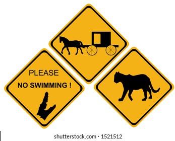 hazard sign  alligator horse drawn traffic puma
