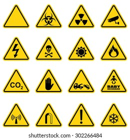 Hazard sign set for biological threat , radiation , cctv , electricity , sun danger , fire , co2 , entry , tow away , baby on board , radio emissions , warring and snow . Vector Illustration