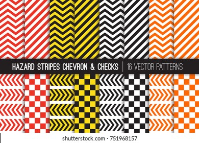 Hazard Stripes, Chevron and Checkerboard Vector Patterns. Barricade Tapes. Caution Warning Sign Backdrops. Brightly Colored Attention Catching Backgrounds. Repeating Pattern Tile Swatches Included.
