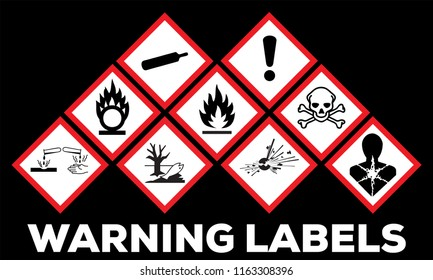 Hazard symbol ghs safety icon set. Physical hazards, Explosive, Flammable Oxidizing, Compressed Gas, Corrosive, toxic, Harmful, Health and Environmental.