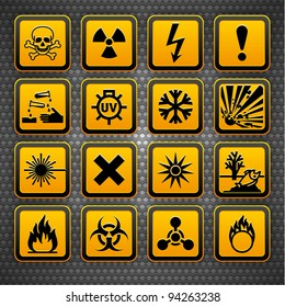 Hazard symbols orange vectors sign, on metal surface