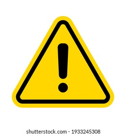 Hazard warning attention sign with exclamation mark symbol. Vector illustration.