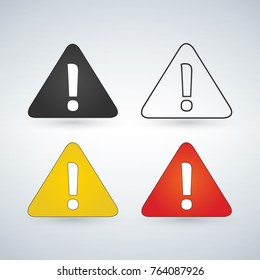 Hazard warning attention sign with exclamation mark symbol, Set of Four. Black, transparent, yellow, red. Isolated vector illustration.
