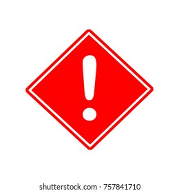 Hazard warning attention sign with exlamation symbol