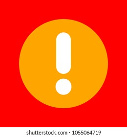Hazard warning attention sign illustration. Vector. Orange icon with white holes if exist at red background. Isolated.