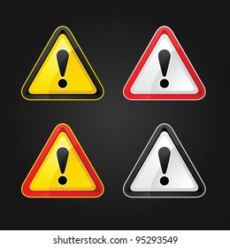 Hazard warning attention sign set on a metal surface