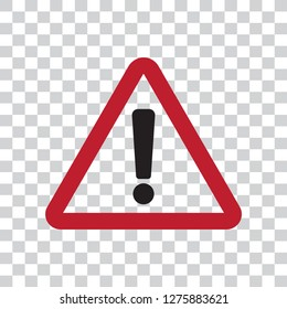 Hazard warning attention vector icon flat sign symbol with exclamation mark illustration isolated on transparent background.Concept for danger.