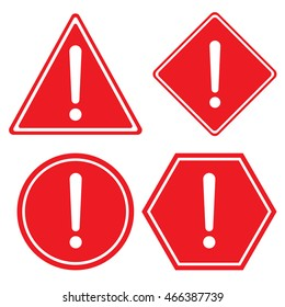 Hazard warning red color sign. Triangle hexagon square and Circle symbol isolated on white background.