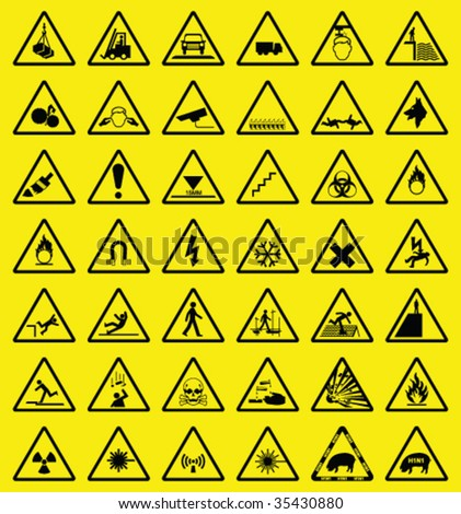 hazard warning sign collection all signs stock vector royalty free