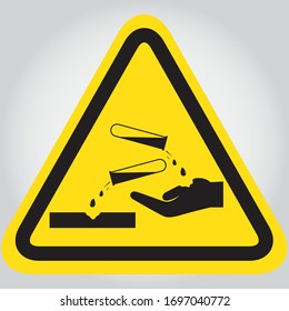 Hazard warning sign corrosive substance