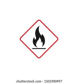 hazard warning sign flammable , isolated vector illustration