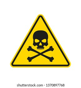 Hazard or warning sign with skull and bones. Toxic and chemical poison symbol. Triangle Danger icon. Vector illustration.