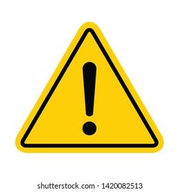 Hazard warning symbol vector icon flat sign symbol with exclamation mark isolated on white background .