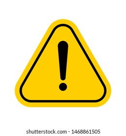 Hazard warning symbol. Vector warning icon isolated on white background. Flat symbol with exclamation mark.