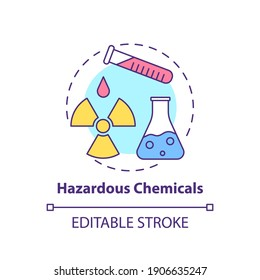 Hazardous chemicals concept icon. Workplace safety concerns. Health problems because of toxic job environment idea thin line illustration. Vector isolated outline RGB color drawing. Editable stroke