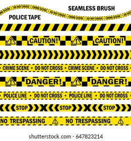 Hazardous and radioactive restricted area tape, black and yellow caution stripe. Seamless pattern vector brush. Easily editable. Perimeter working zone ribbon.