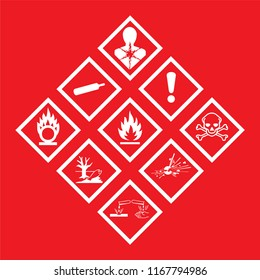 Hazardous warning symbol on red background. Editable vector design.