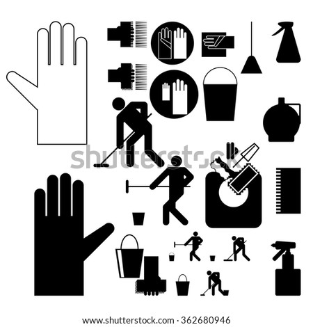 Hazards Symbols Cleaning Cleanliness Set Recognizable Image Stock