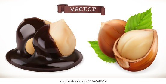 Hazelnut in chocolate. 3d realistic vector icon