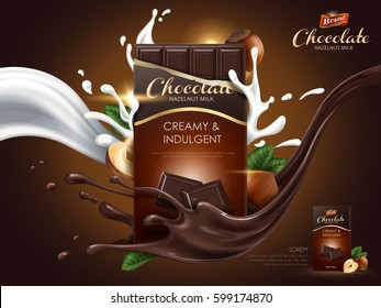 hazelnut chocolate ad with milk and cocoa flow elements, brown background, 3d illustration
